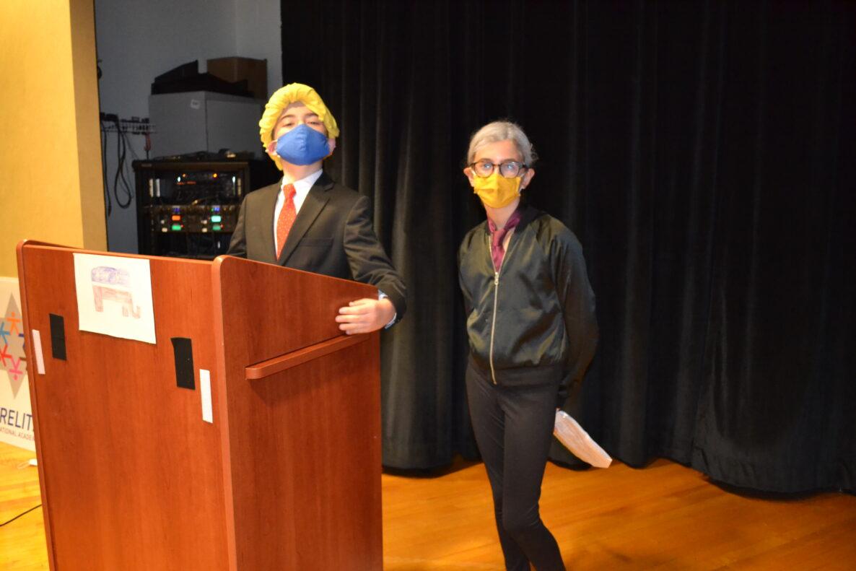 Fifth graders Ben Amitay as Vice President Joe Biden and Amelia Portnoy as Senator Kamala Harris
