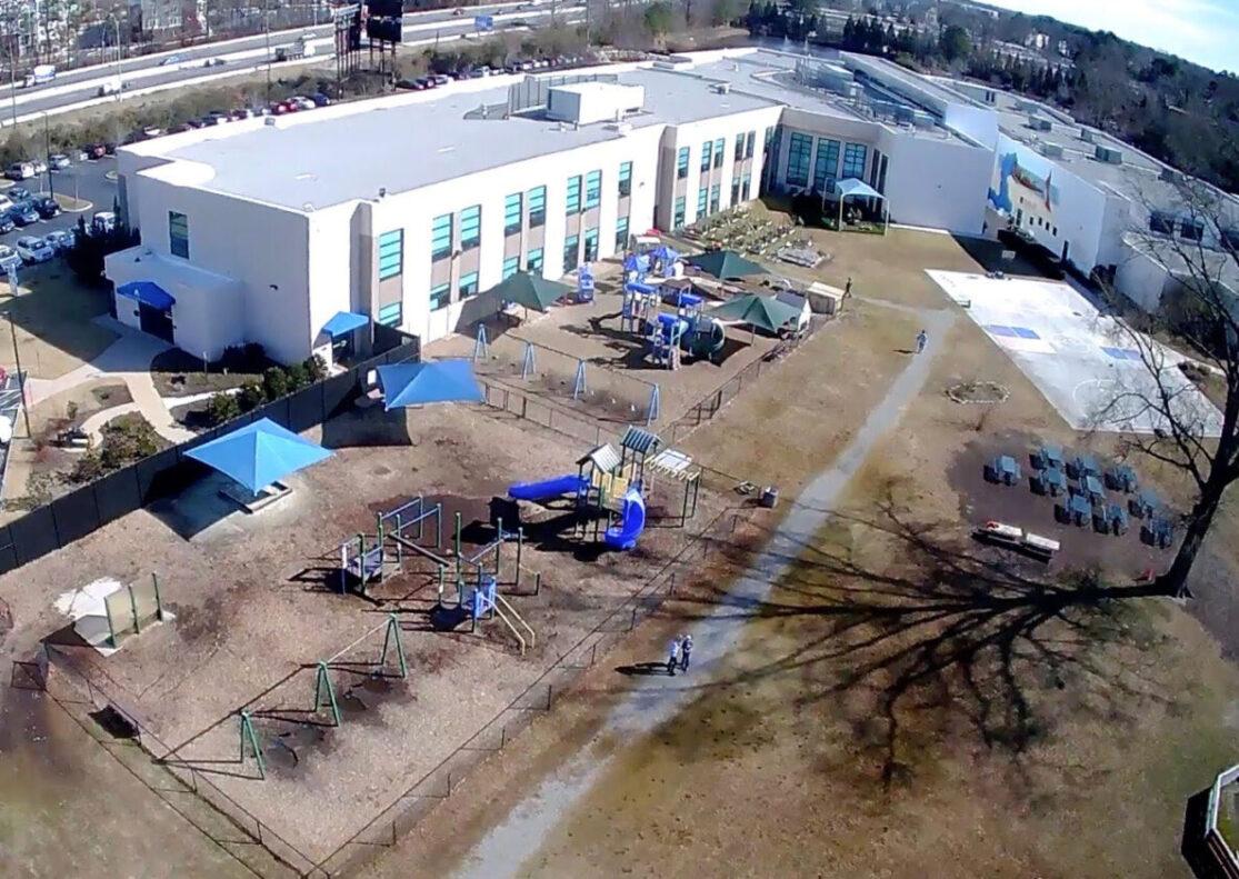 Complete aerial view of Strelitz International Academy, elementary school in Chesapeake VA