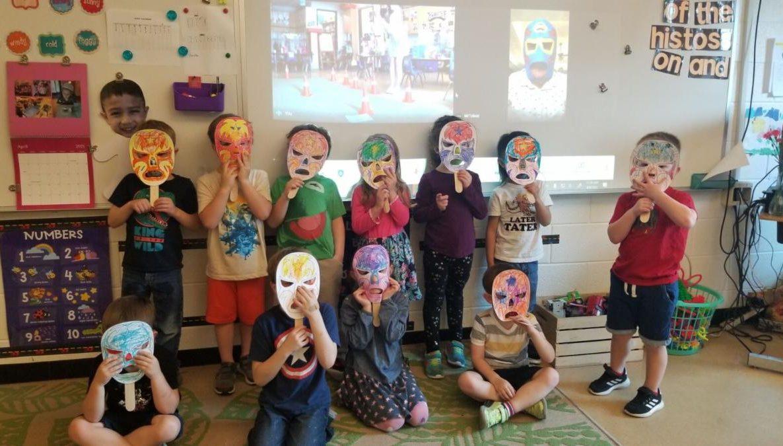 Four Year Old kids wearing custom masks at SIA